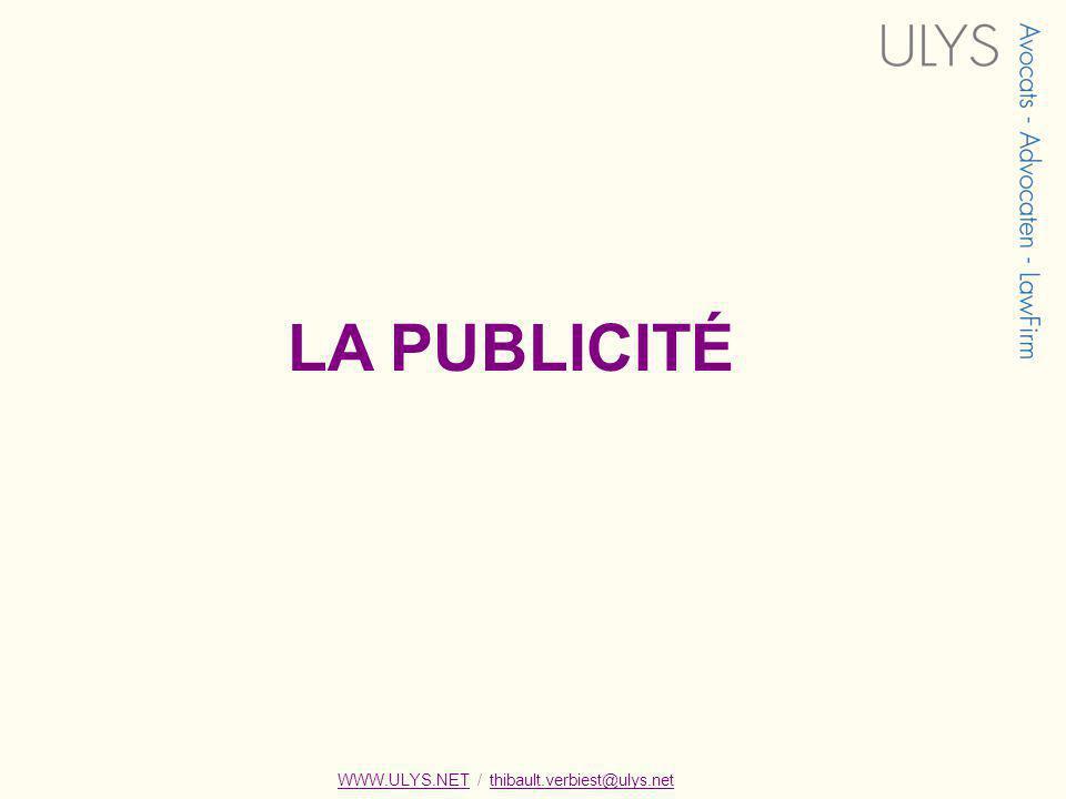LA PUBLICITÉ WWW.ULYS.NET / thibault.verbiest@ulys.net