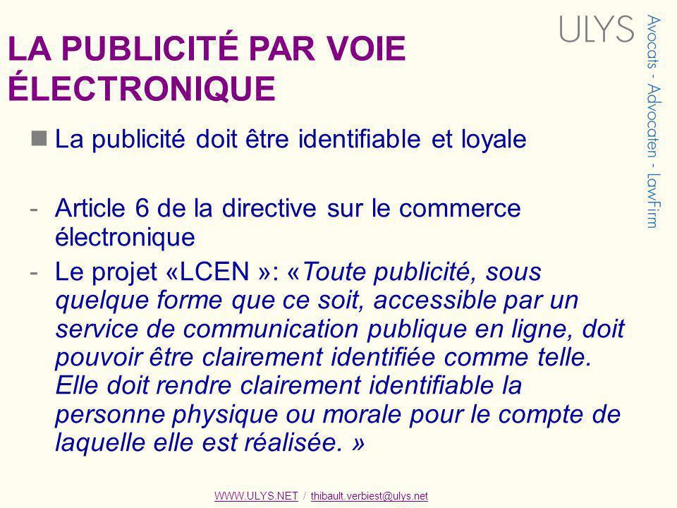 LA PUBLICITÉ PAR VOIE ÉLECTRONIQUE