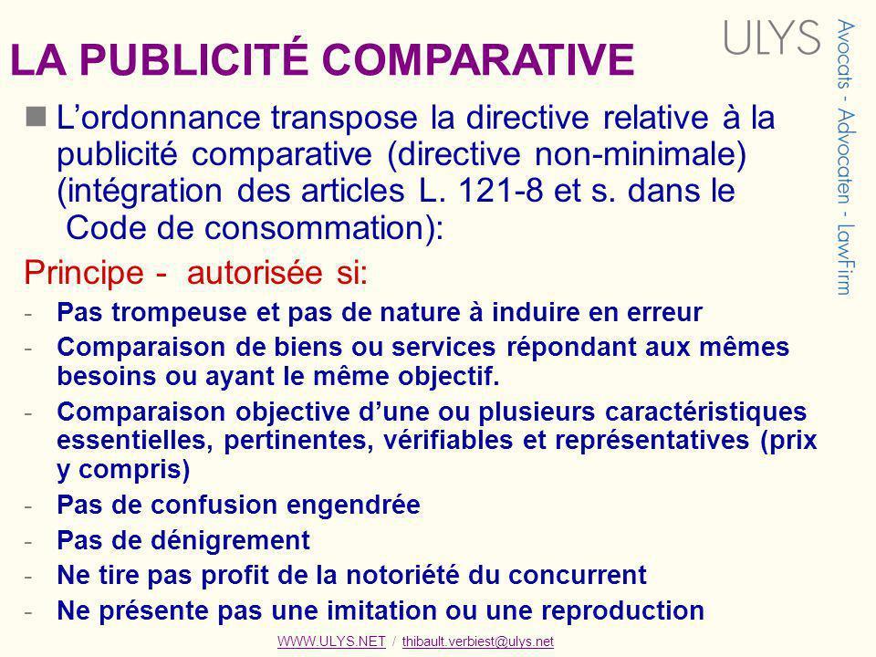 LA PUBLICITÉ COMPARATIVE