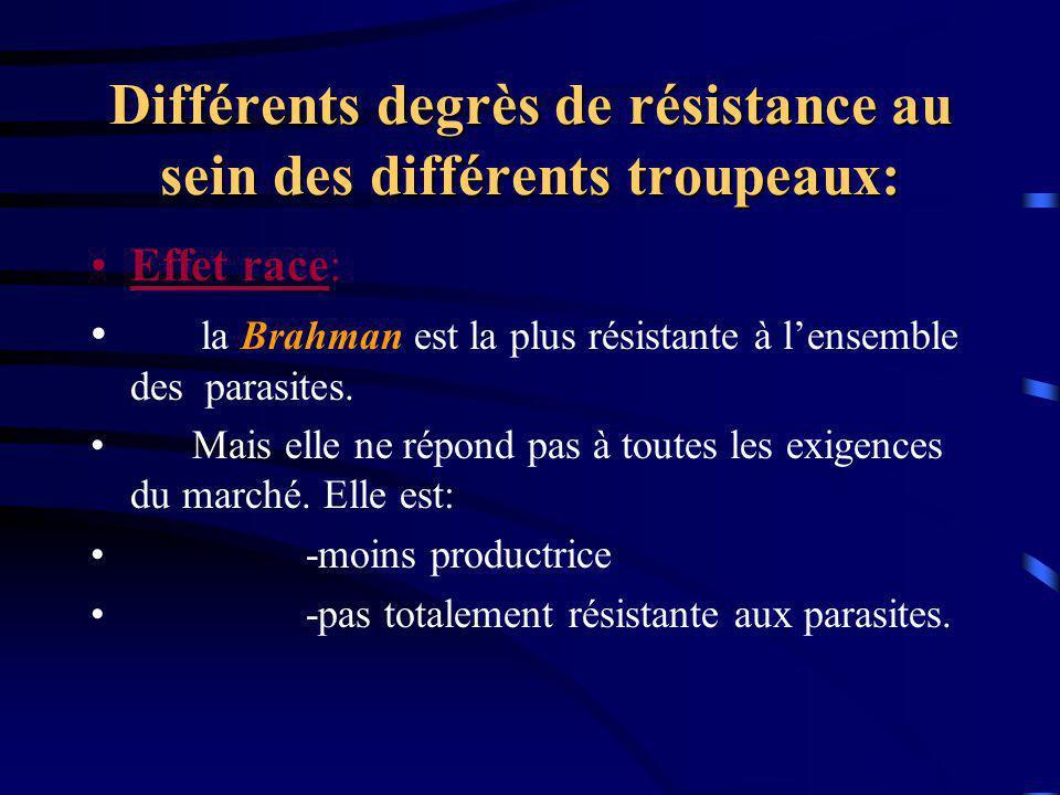 Différents degrès de résistance au sein des différents troupeaux: