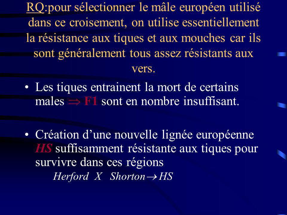 RQ:pour sélectionner le mâle européen utilisé dans ce croisement, on utilise essentiellement la résistance aux tiques et aux mouches car ils sont généralement tous assez résistants aux vers.