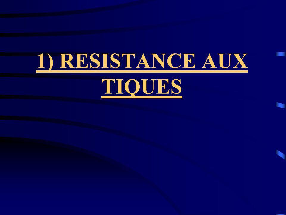 1) RESISTANCE AUX TIQUES