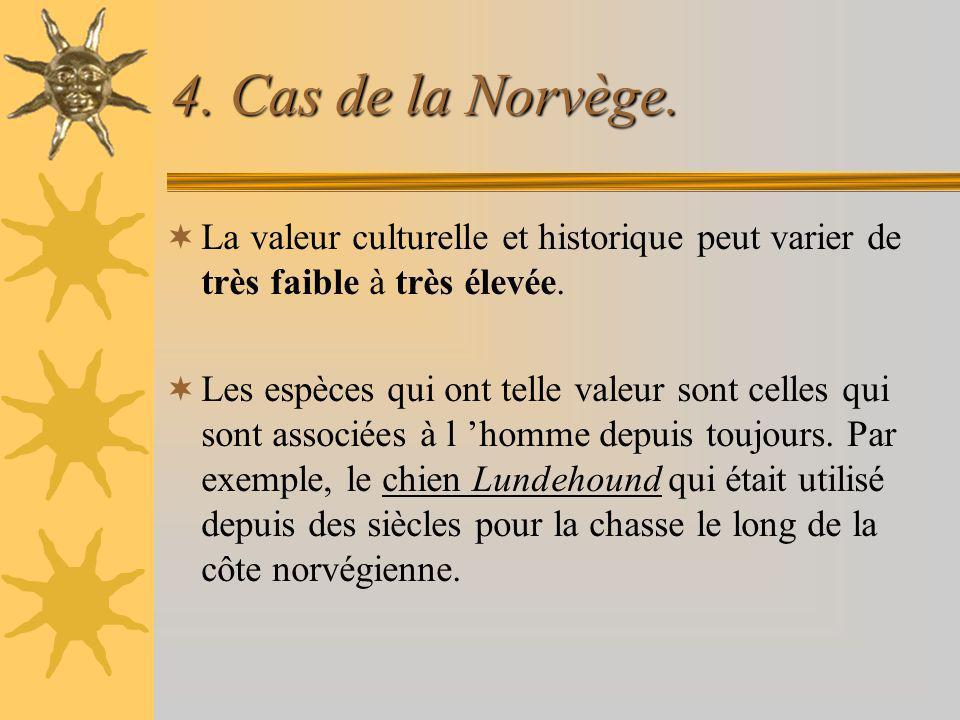 4. Cas de la Norvège. La valeur culturelle et historique peut varier de très faible à très élevée.