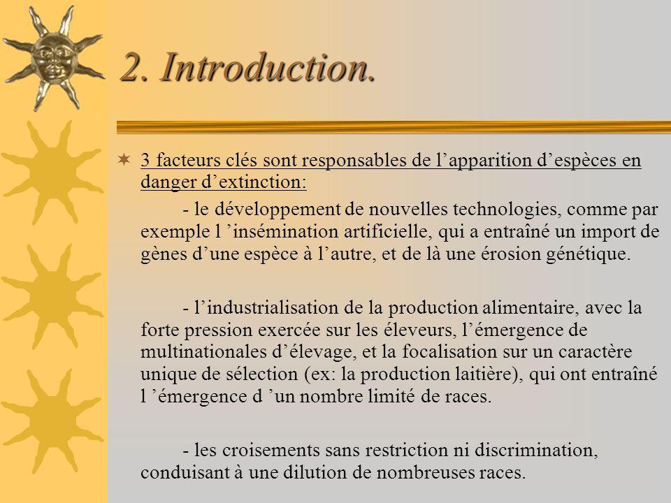 2. Introduction. 3 facteurs clés sont responsables de l'apparition d'espèces en danger d'extinction: