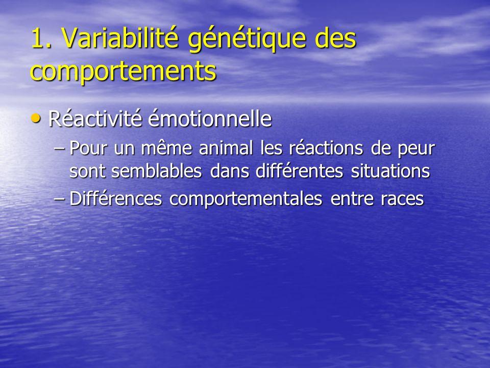 1. Variabilité génétique des comportements