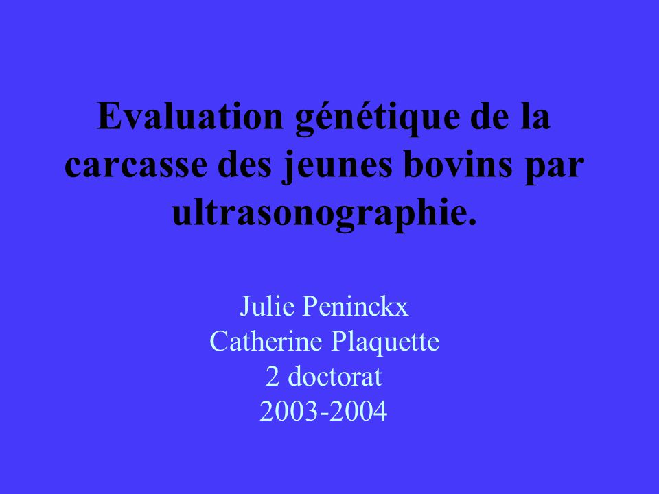Julie Peninckx Catherine Plaquette 2 doctorat 2003-2004
