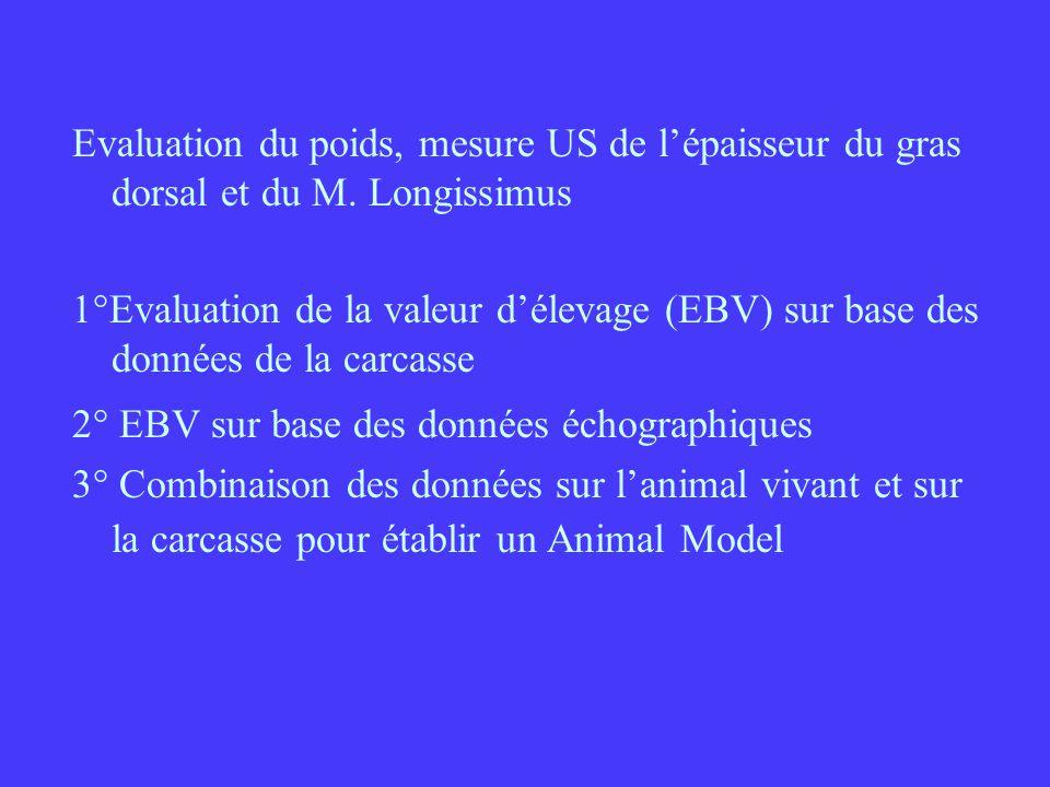 Evaluation du poids, mesure US de l'épaisseur du gras dorsal et du M