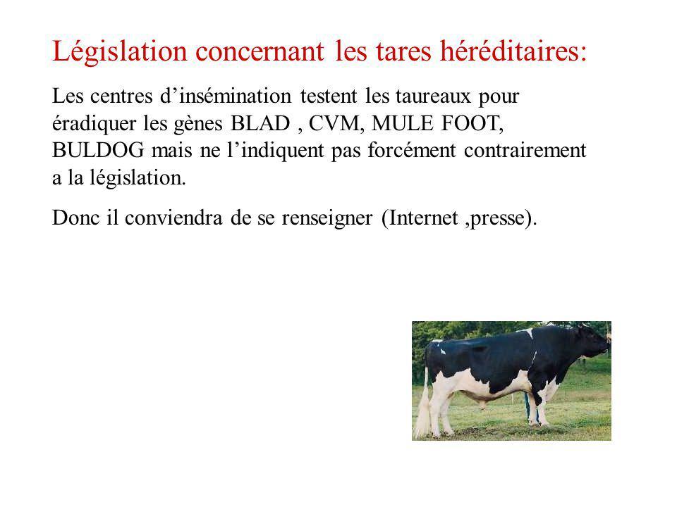 Législation concernant les tares héréditaires: