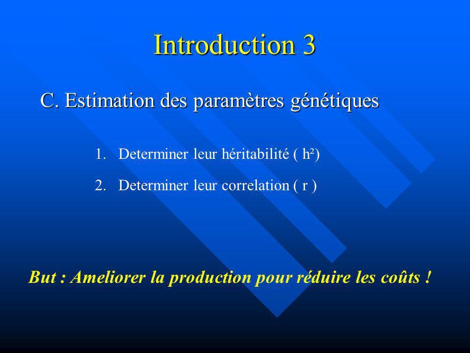 Introduction 3 C. Estimation des paramètres génétiques