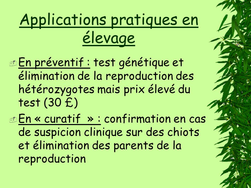 Applications pratiques en élevage