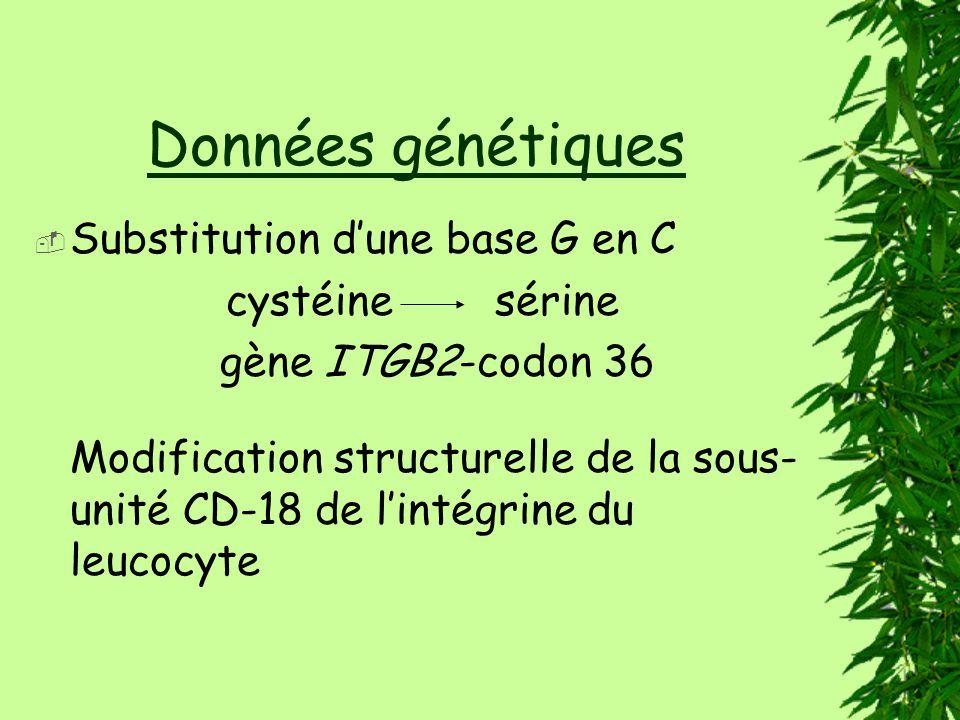 Données génétiques Substitution d'une base G en C cystéine sérine