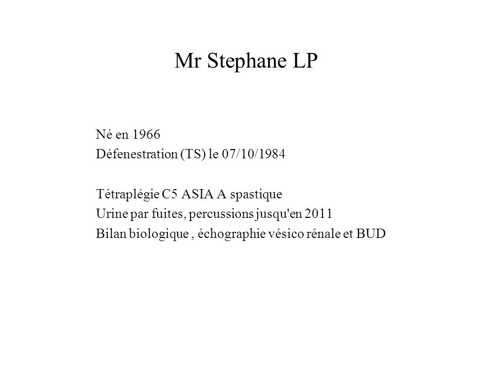 Mr Stephane LP Né en 1966 Défenestration (TS) le 07/10/1984