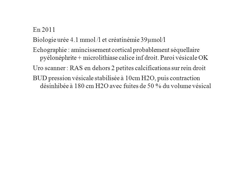 En 2011 Biologie urée 4.1 mmol /l et créatinémie 39µmol/l.