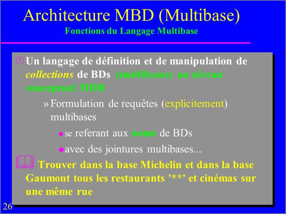 Architecture MBD (Multibase) Fonctions du Langage Multibase