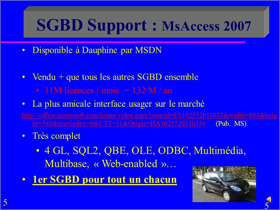 SGBD Support : MsAccess 2007