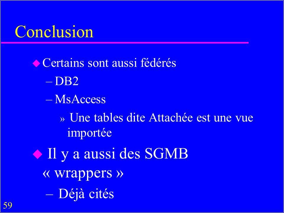 Conclusion Il y a aussi des SGMB « wrappers » Déjà cités