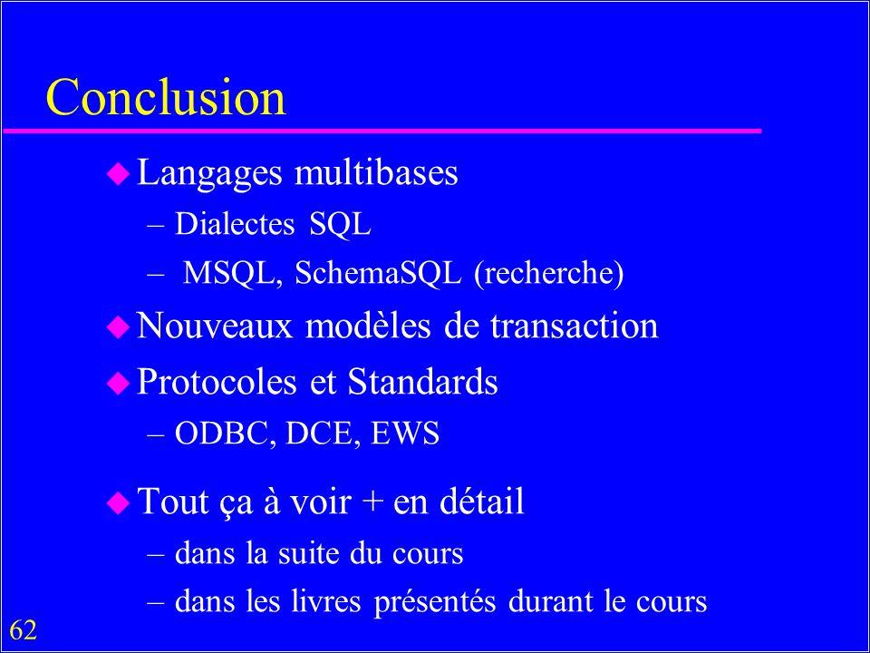Conclusion Langages multibases Nouveaux modèles de transaction