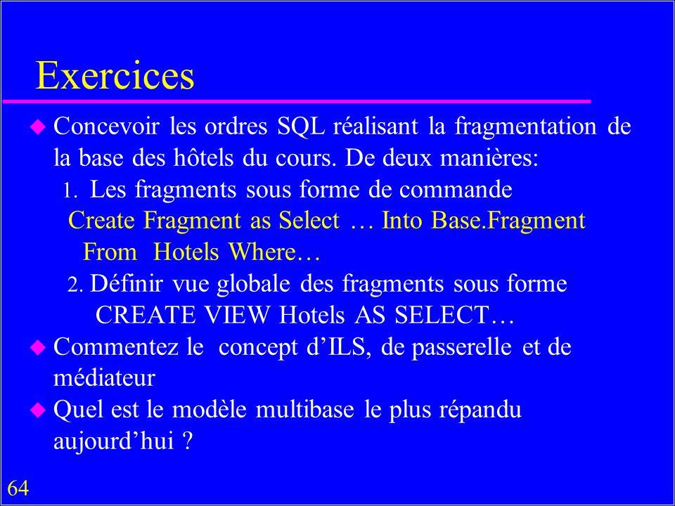 Exercices Concevoir les ordres SQL réalisant la fragmentation de la base des hôtels du cours. De deux manières: