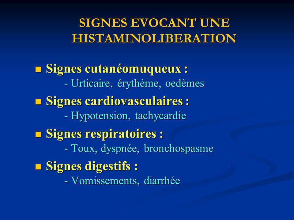 SIGNES EVOCANT UNE HISTAMINOLIBERATION
