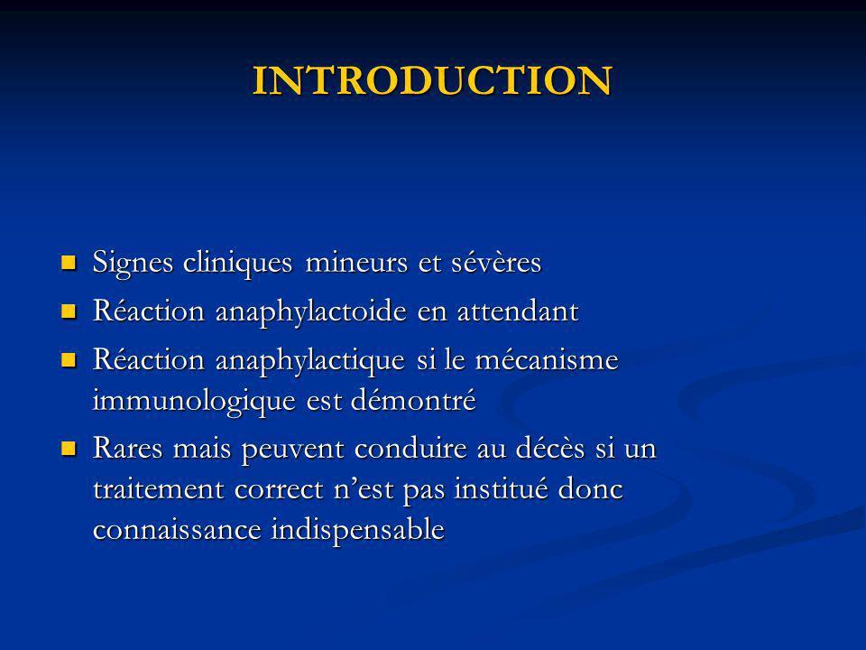 INTRODUCTION Signes cliniques mineurs et sévères