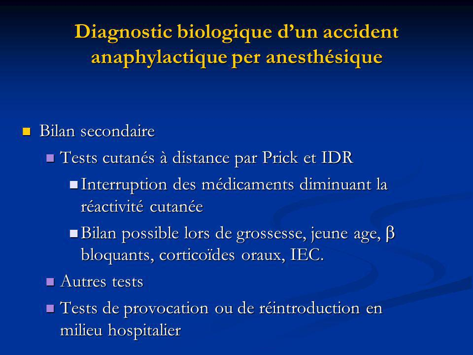 Diagnostic biologique d'un accident anaphylactique per anesthésique