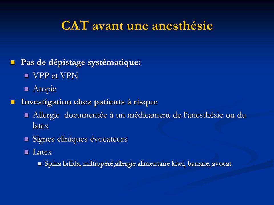 CAT avant une anesthésie