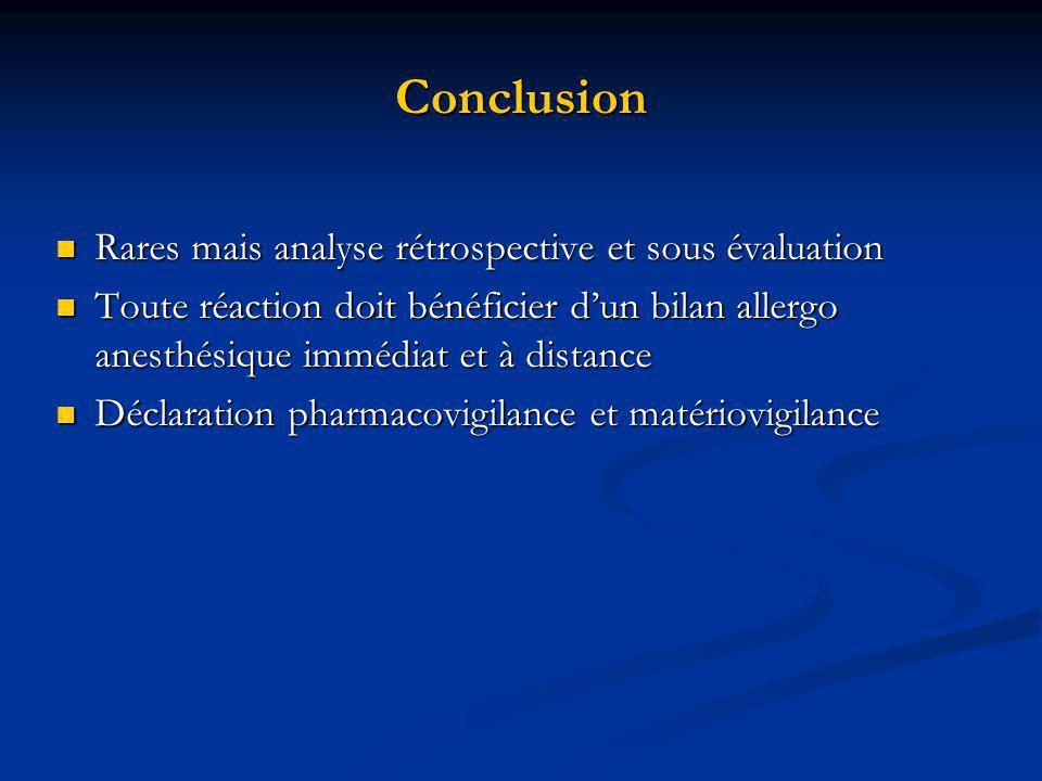 Conclusion Rares mais analyse rétrospective et sous évaluation
