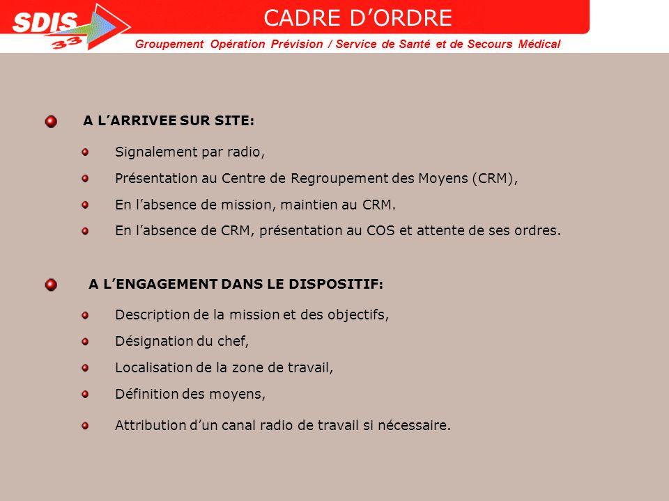 CADRE D'ORDRE A L'ARRIVEE SUR SITE: Signalement par radio,