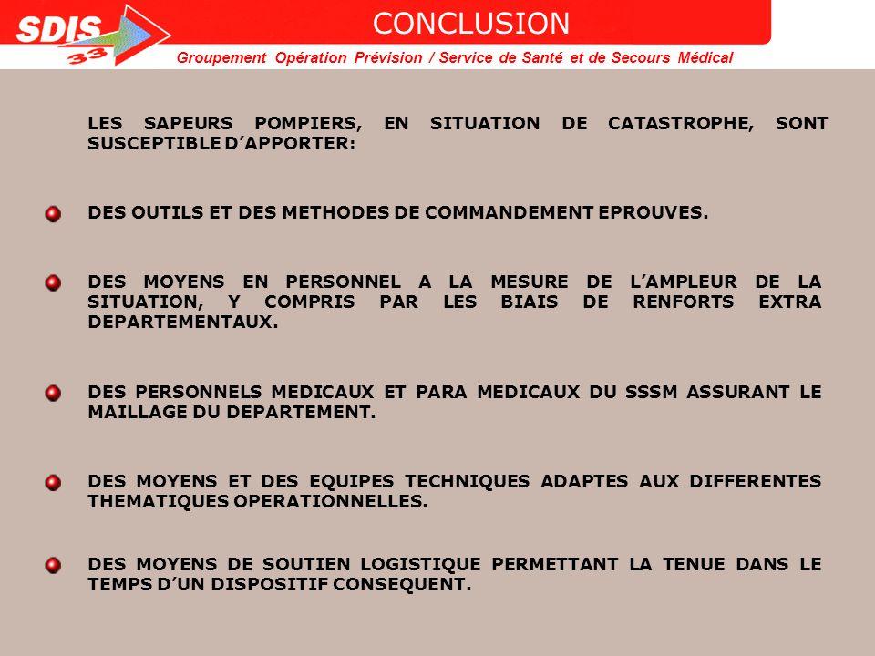 CONCLUSION LES SAPEURS POMPIERS, EN SITUATION DE CATASTROPHE, SONT SUSCEPTIBLE D'APPORTER: DES OUTILS ET DES METHODES DE COMMANDEMENT EPROUVES.