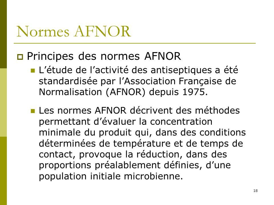 Normes AFNOR Principes des normes AFNOR