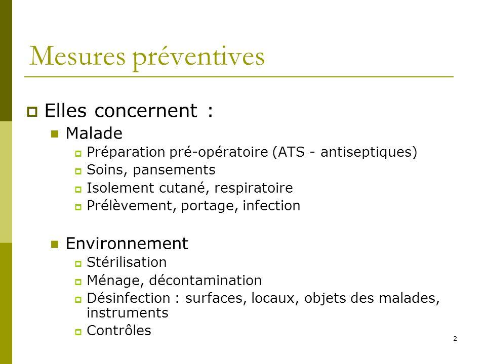 Mesures préventives Elles concernent : Malade Environnement