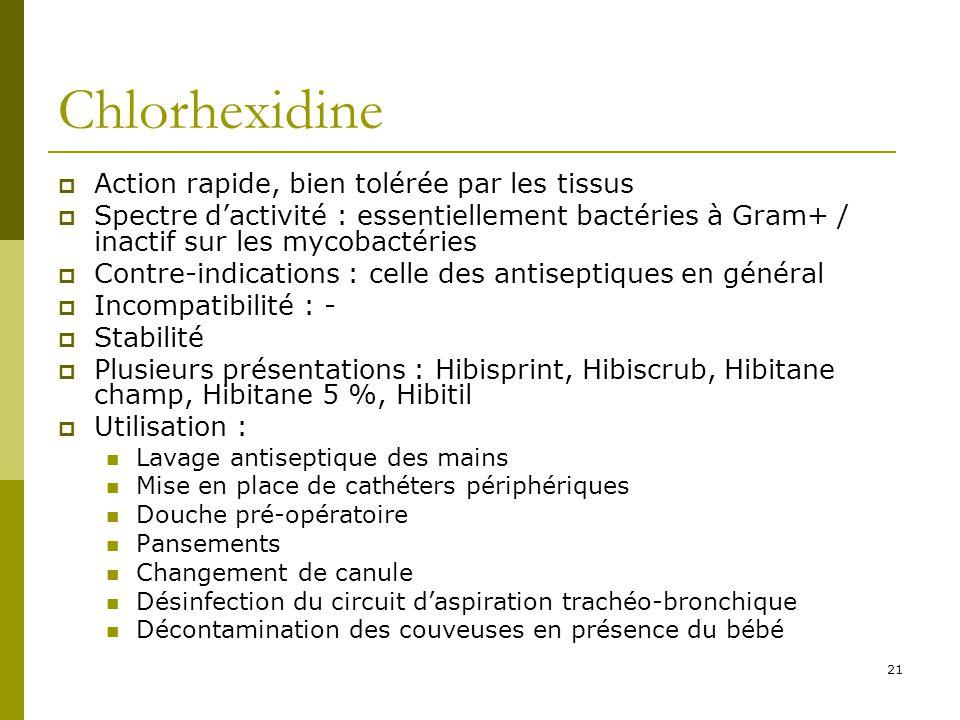 Chlorhexidine Action rapide, bien tolérée par les tissus