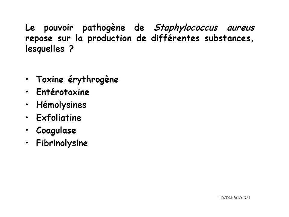 Le pouvoir pathogène de Staphylococcus aureus repose sur la production de différentes substances, lesquelles