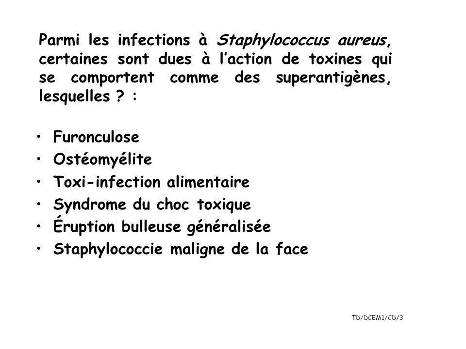 Parmi les infections à Staphylococcus aureus, certaines sont dues à l'action de toxines qui se comportent comme des superantigènes, lesquelles :