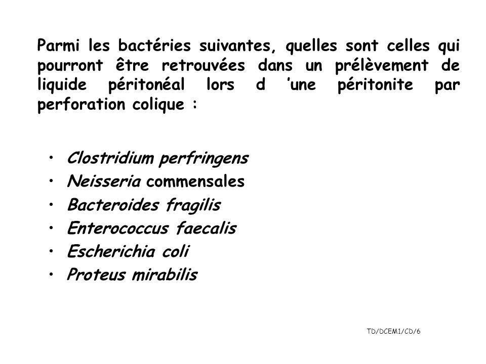 Parmi les bactéries suivantes, quelles sont celles qui pourront être retrouvées dans un prélèvement de liquide péritonéal lors d 'une péritonite par perforation colique :