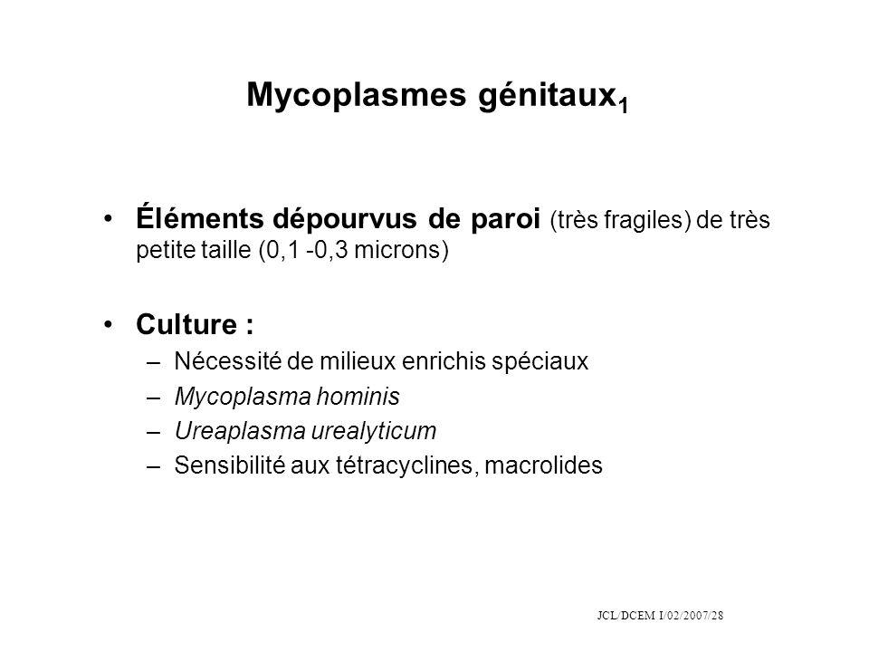 Mycoplasmes génitaux1 Éléments dépourvus de paroi (très fragiles) de très petite taille (0,1 -0,3 microns)