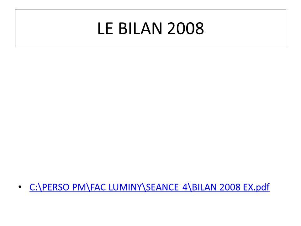 LE BILAN 2008 C:\PERSO PM\FAC LUMINY\SEANCE 4\BILAN 2008 EX.pdf