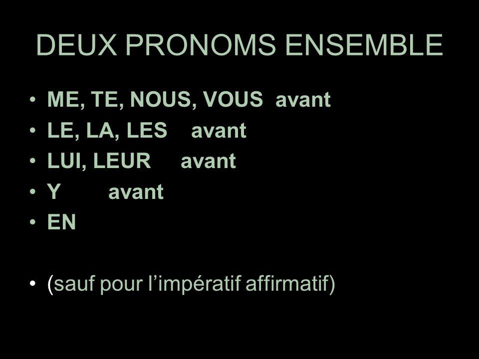DEUX PRONOMS ENSEMBLE ME, TE, NOUS, VOUS avant LE, LA, LES avant