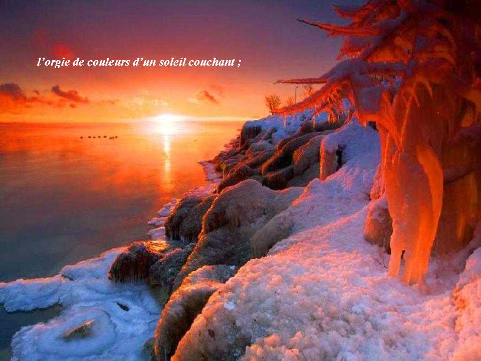 l'orgie de couleurs d'un soleil couchant ;