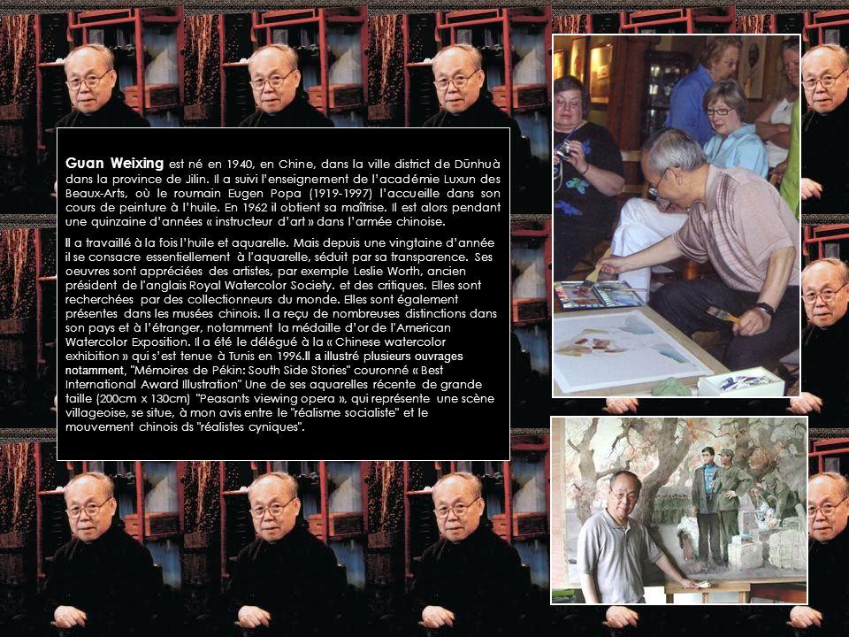 Guan Weixing est né en 1940, en Chine, dans la ville district de Dūnhuà dans la province de Jilin. Il a suivi l'enseignement de l'académie Luxun des Beaux-Arts, où le roumain Eugen Popa (1919-1997) l'accueille dans son cours de peinture à l'huile. En 1962 il obtient sa maîtrise. Il est alors pendant une quinzaine d'années « instructeur d'art » dans l'armée chinoise.