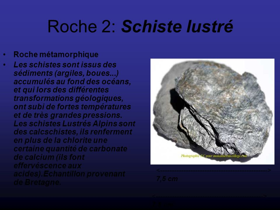Roche 2: Schiste lustré Roche métamorphique
