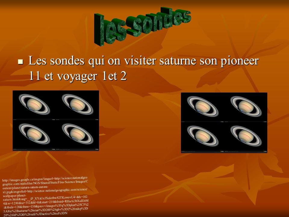 les sondes Les sondes qui on visiter saturne son pioneer 11 et voyager 1et 2.