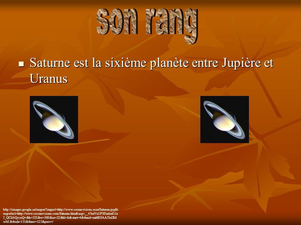 son rang Saturne est la sixième planète entre Jupière et Uranus