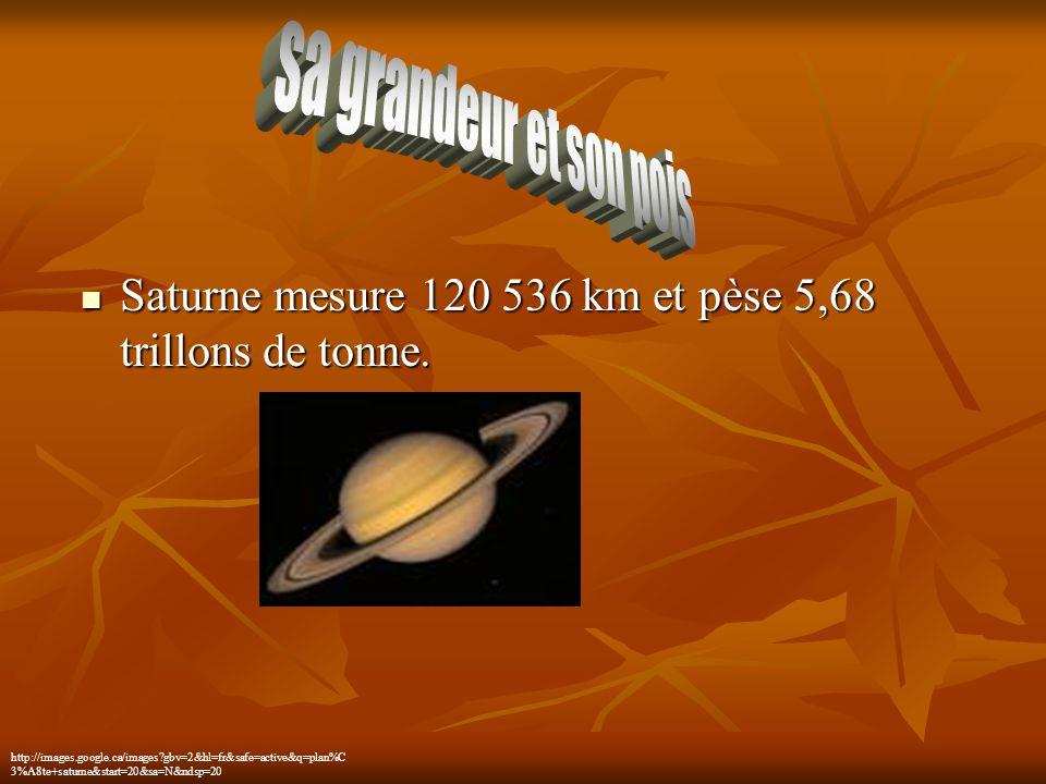 sa grandeur et son pois Saturne mesure 120 536 km et pèse 5,68 trillons de tonne.