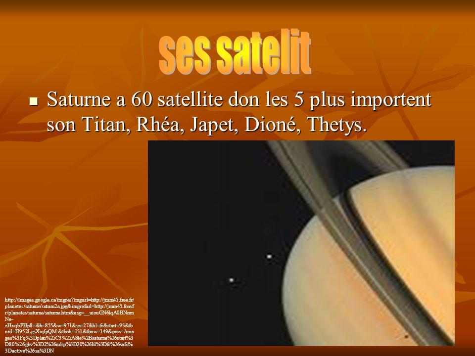 ses satelit Saturne a 60 satellite don les 5 plus importent son Titan, Rhéa, Japet, Dioné, Thetys.