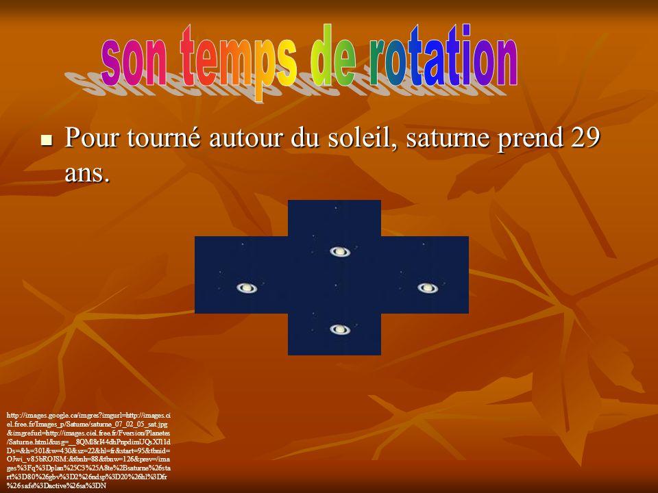 son temps de rotation Pour tourné autour du soleil, saturne prend 29 ans.