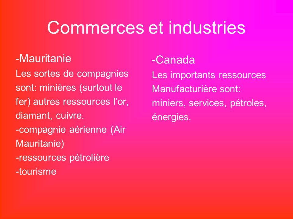 Commerces et industries