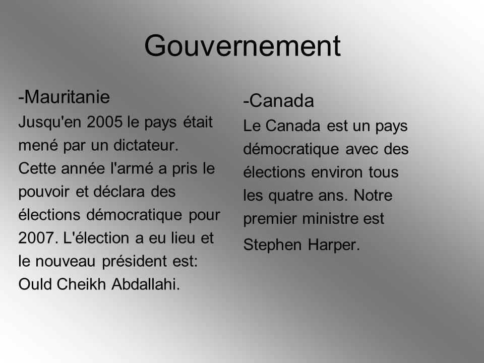 Gouvernement -Mauritanie -Canada Jusqu en 2005 le pays était
