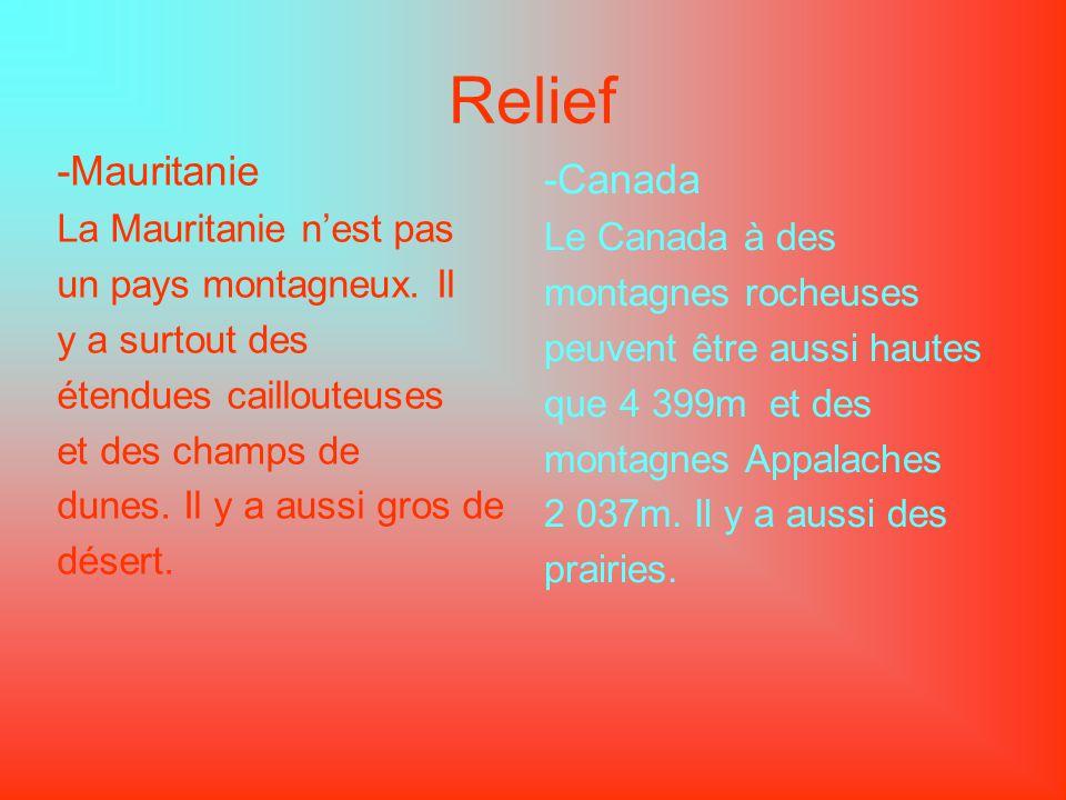 Relief -Mauritanie -Canada La Mauritanie n'est pas Le Canada à des