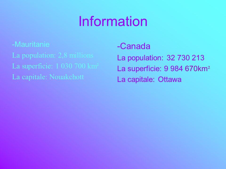 Information -Canada -Mauritanie La population: 2,8 millions